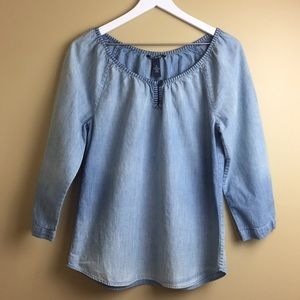 Lucky Brand chambray peasant tunic embroidered M